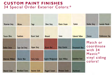 custom paint finishes for mastic siding