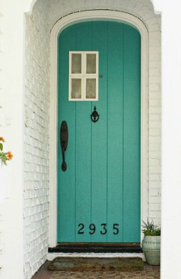 Teal colored paint on front door