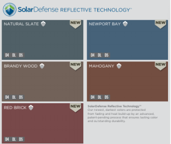 Color options for Solar defense reflective technology