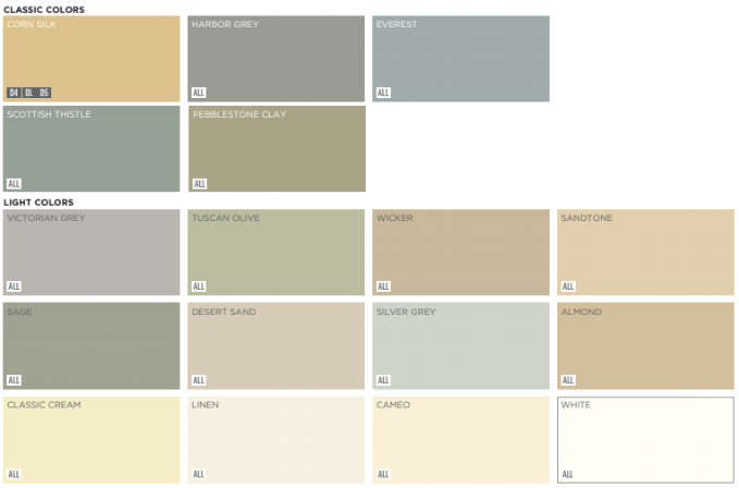 Classic and light color options for Mastic vinyl siding