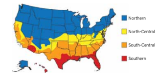 Energy Star guidelines map