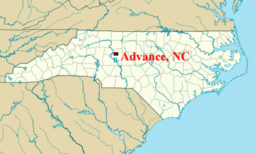 map of advance, nc