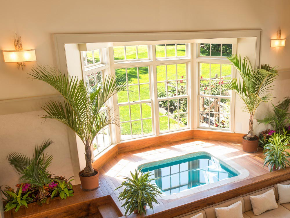 Double Hung Windows In Spa Room