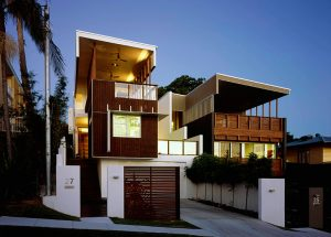Contemporary home with picture windows