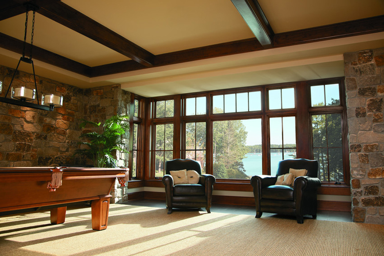 Transom windows in mountain home