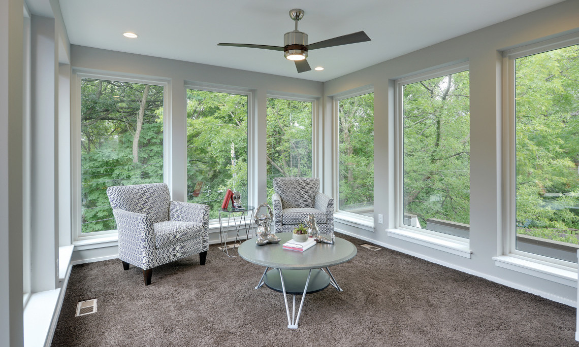fiber glass windows in large sitting room