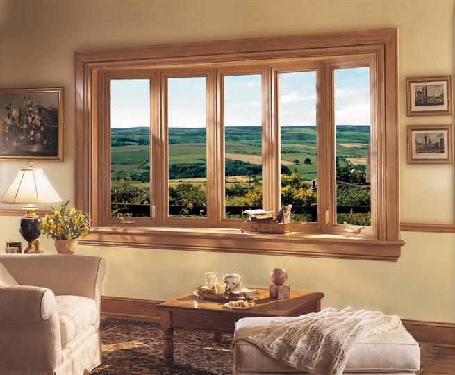 Living room wood window