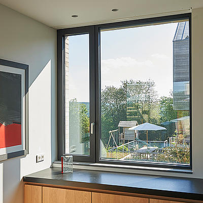 Office view with aluminum windows