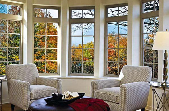 Sitting room with fiber glass windows