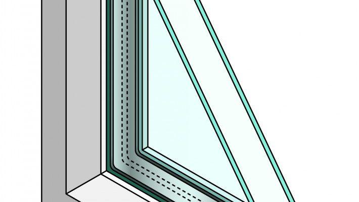 A double-paned window